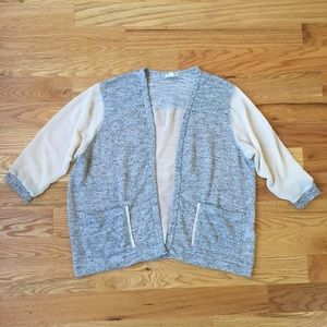 Cream grey cardigan gray sheer by Urban Outfitters
